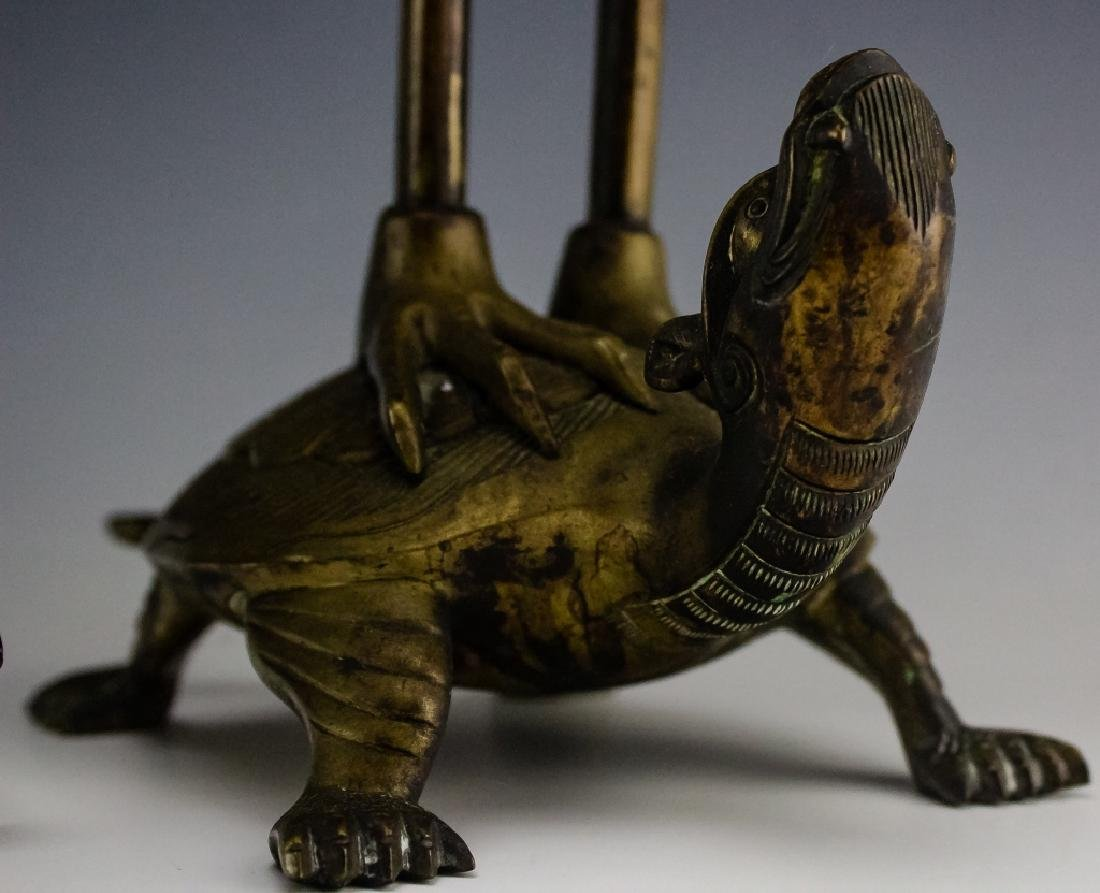 Chinese Export PAIR Brass Crane on Turtle Statue - 4