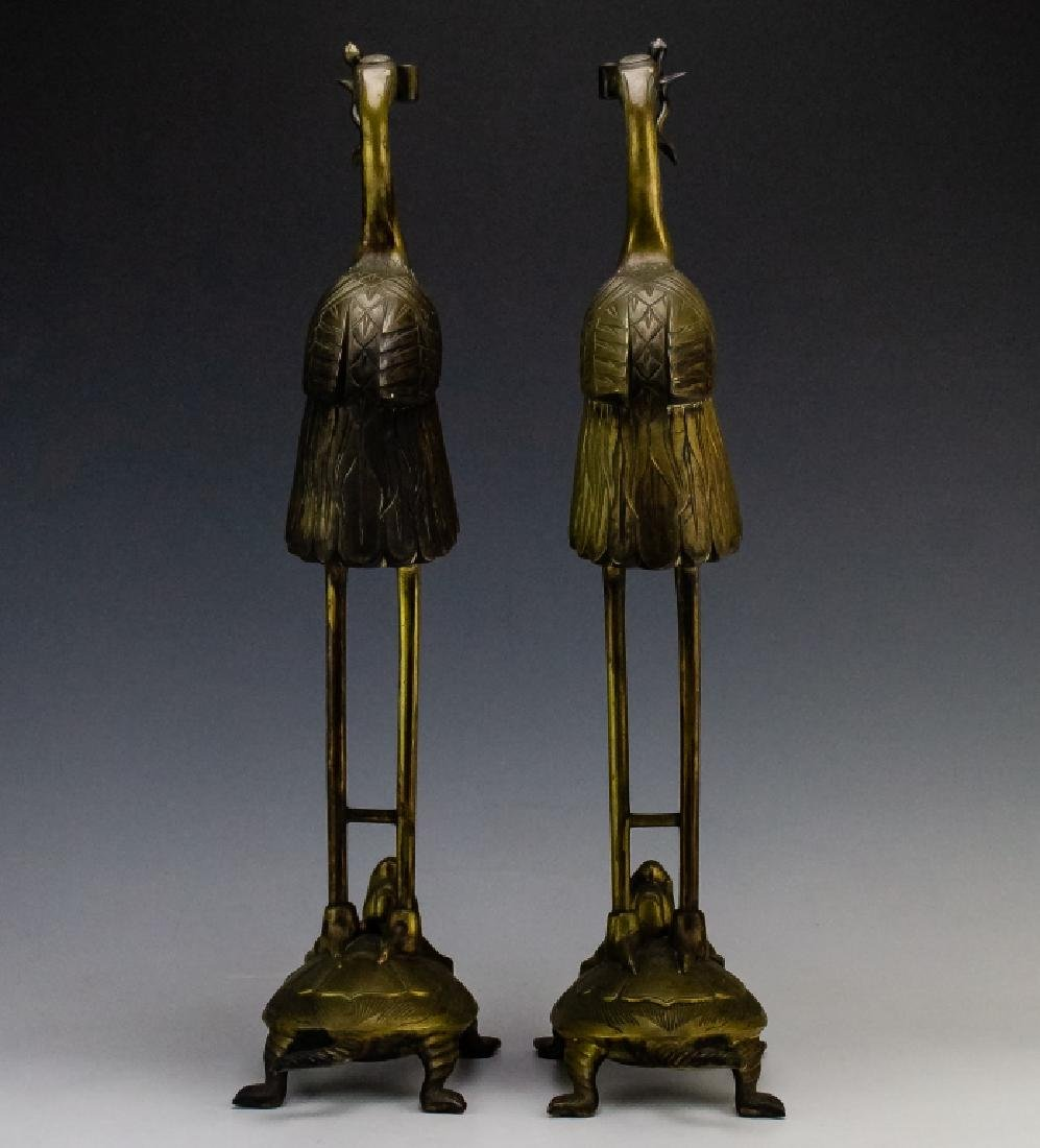 Chinese Export PAIR Brass Crane on Turtle Statue - 5