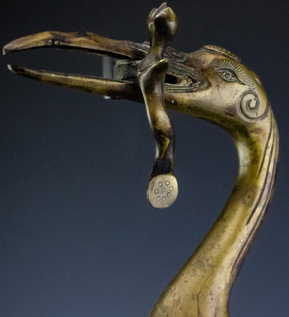 Chinese Export PAIR Brass Crane on Turtle Statue - 8