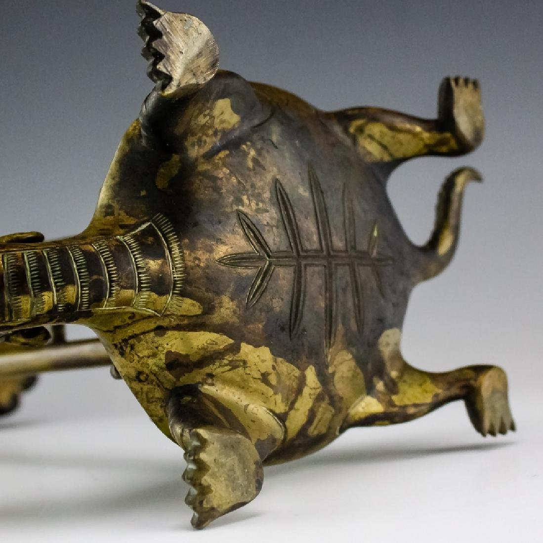 Chinese Export PAIR Brass Crane on Turtle Statue - 9