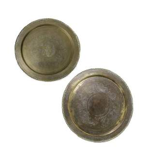 2 Chinese Old Bronze Blessing Tray Charger Plates