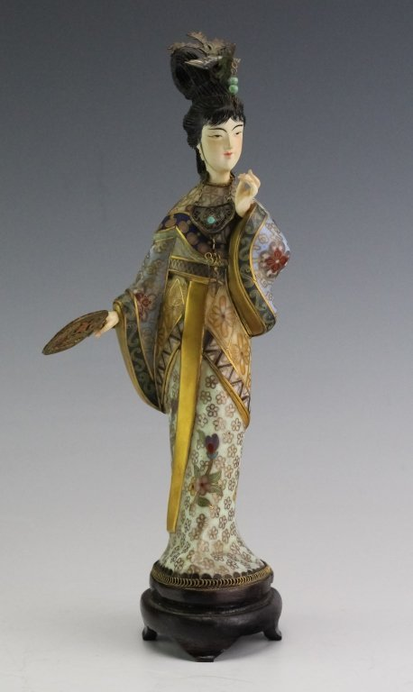 Chinese Cloisonne Enamel Quan Yin Buddha Statue