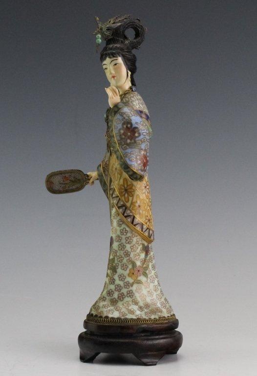 Chinese Cloisonne Enamel Quan Yin Buddha Statue - 2