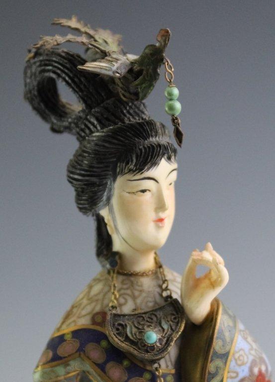 Chinese Cloisonne Enamel Quan Yin Buddha Statue - 4