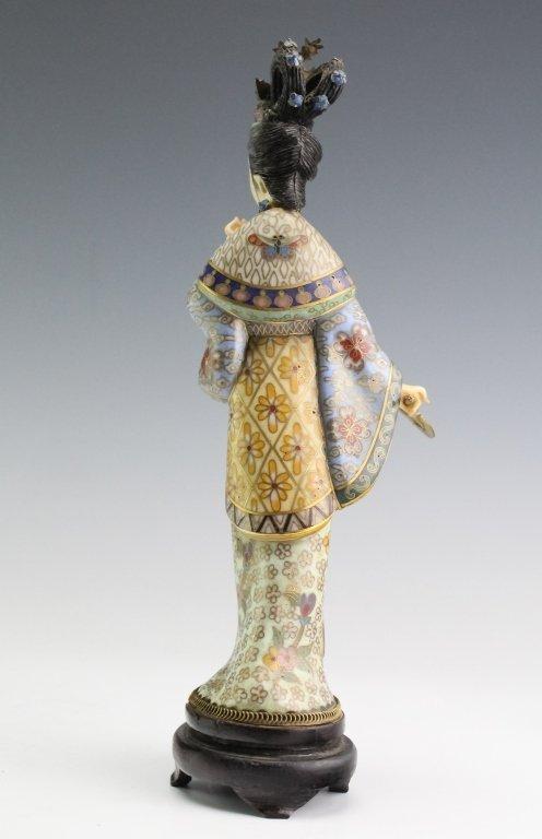 Chinese Cloisonne Enamel Quan Yin Buddha Statue - 5