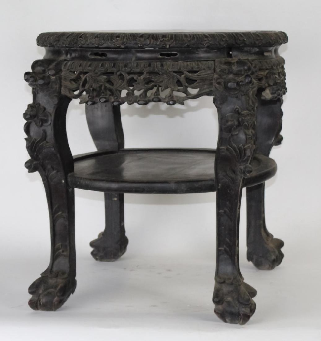 Chinese Export Carved Hardwood Marble Top Table - 4