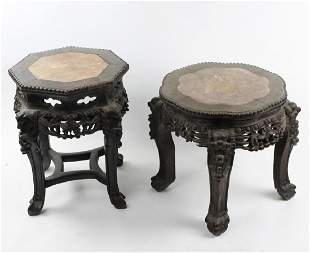 Pr Chinese Export Carved Hardwood Marble Top Table