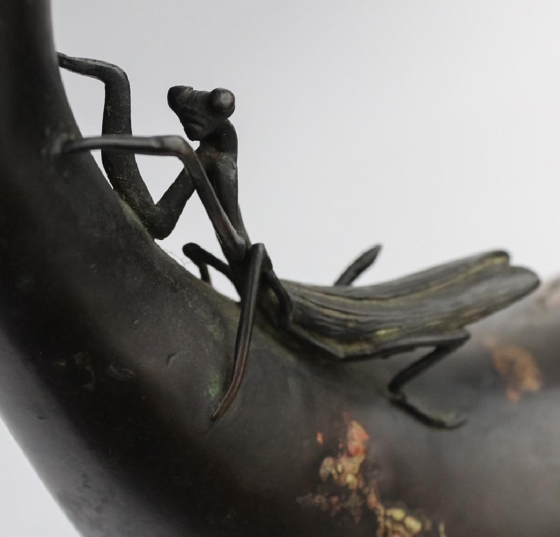 Japanese Meiji Praying Mantis Gourd Vase SIGNED - 10