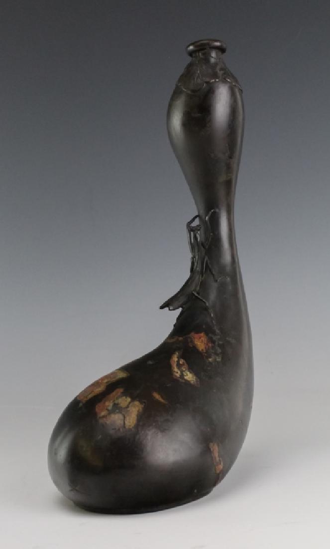Japanese Meiji Praying Mantis Gourd Vase SIGNED - 3