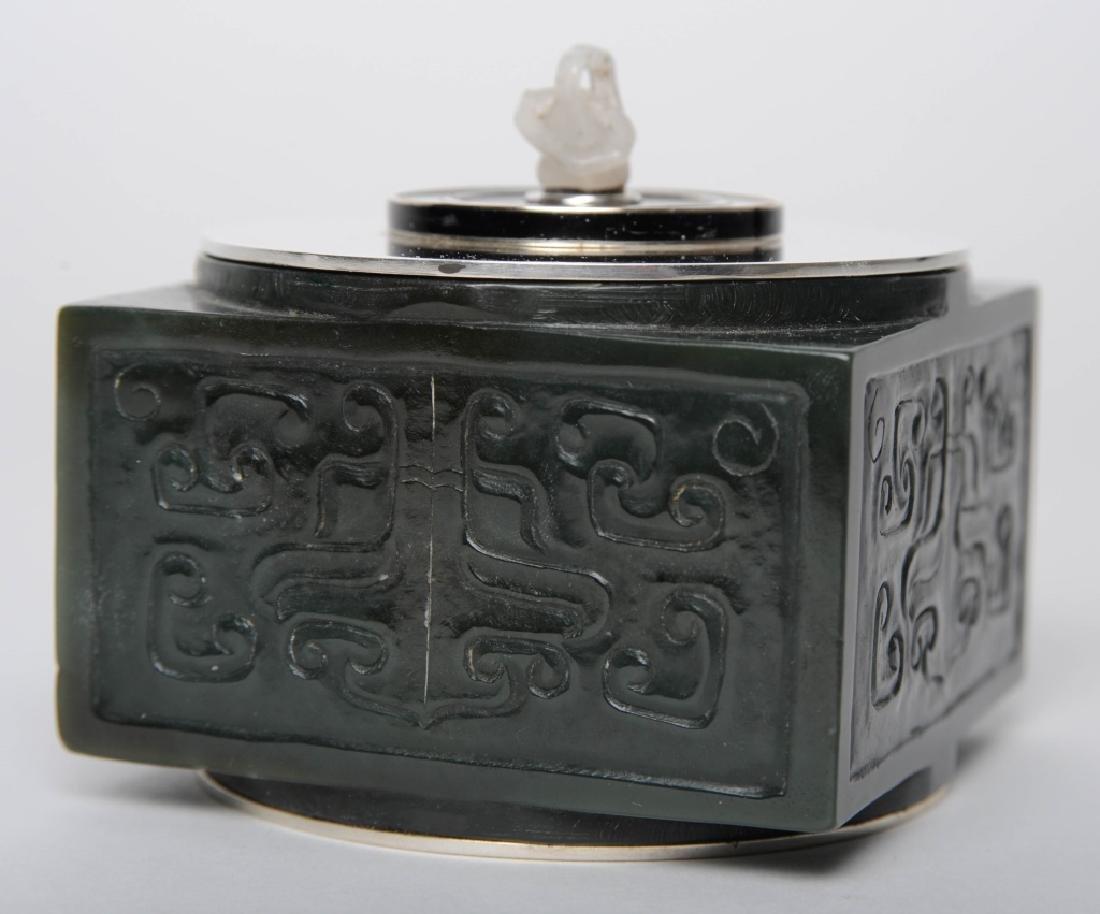 Cartier Spinach Green Jade & Sterling Lidded Box - 4