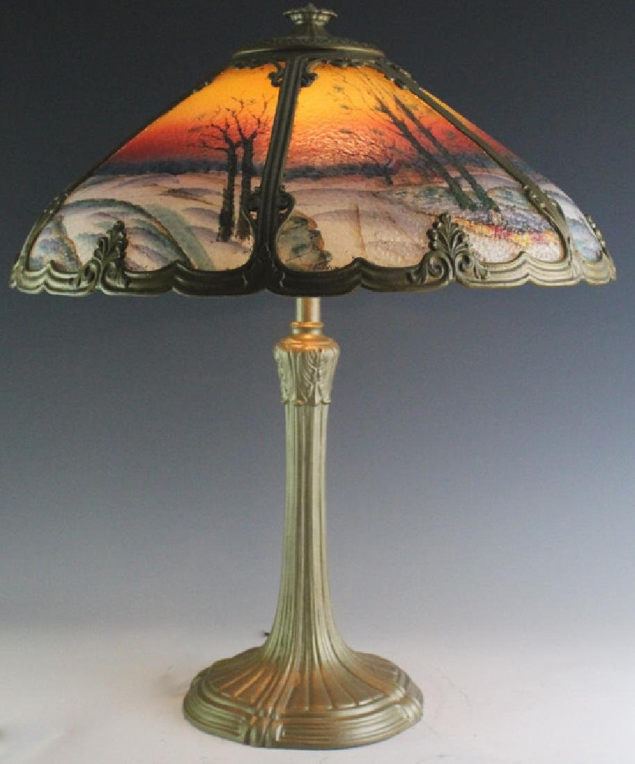 Miller Reverse Painted Glass Shade Sunset Lamp