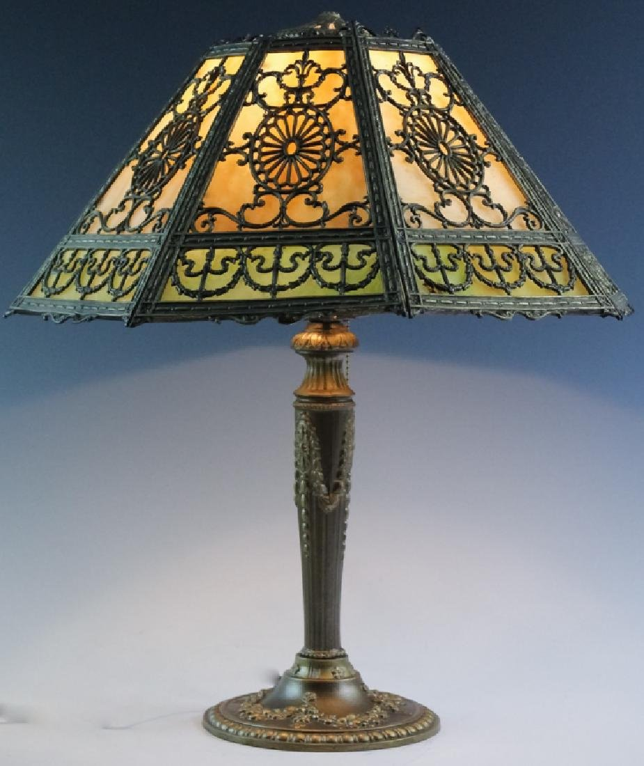 Ornate Edwardian Stained Glass Panel Table Lamp