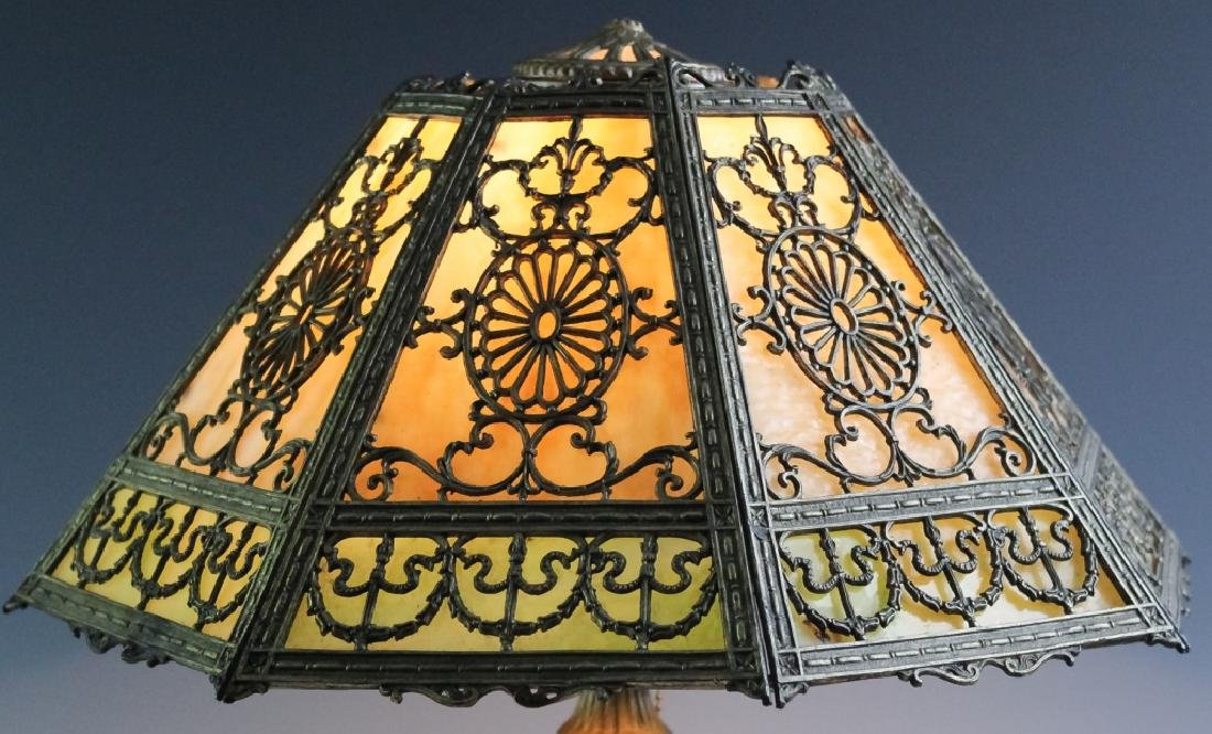 Ornate Edwardian Stained Glass Panel Table Lamp - 2