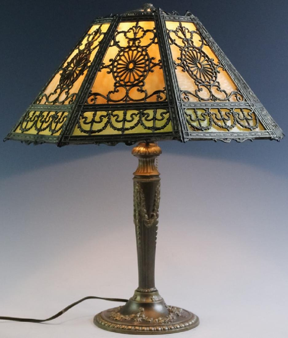 Ornate Edwardian Stained Glass Panel Table Lamp - 3