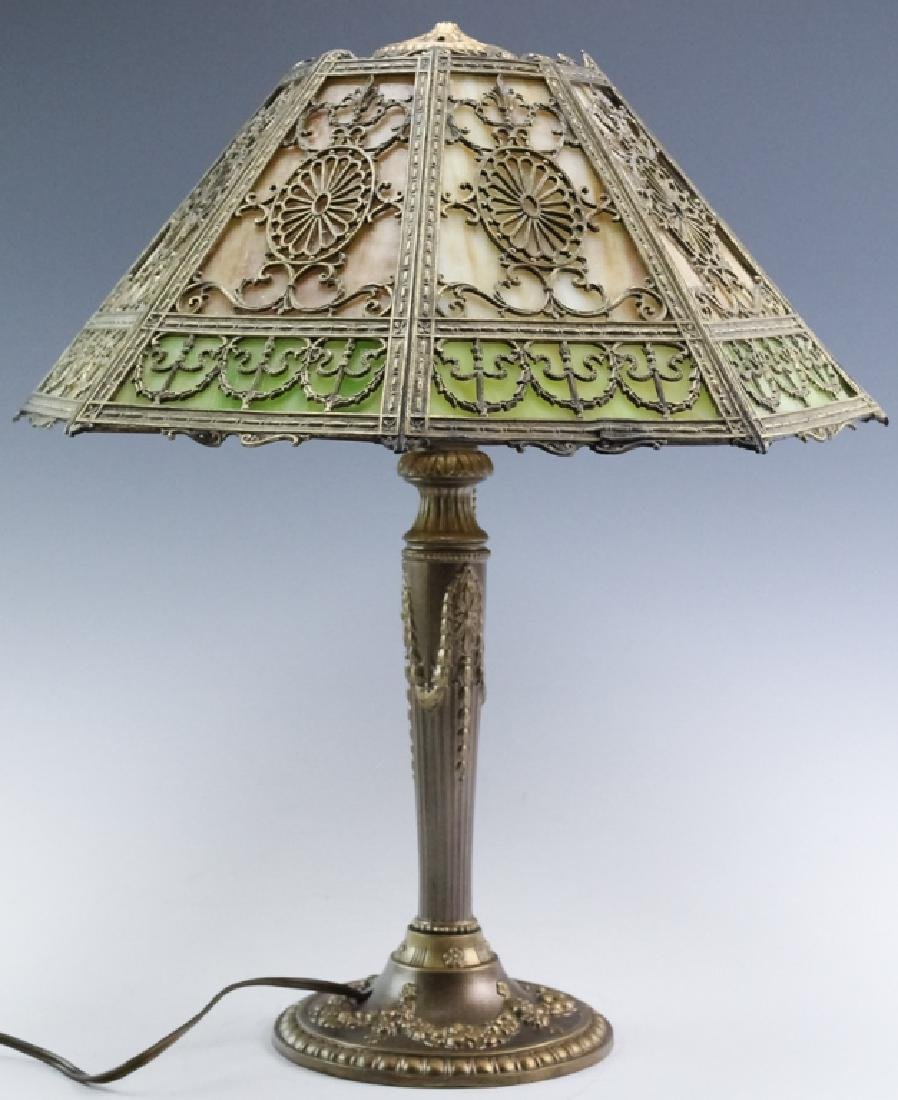 Ornate Edwardian Stained Glass Panel Table Lamp - 5