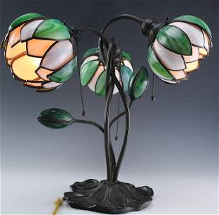 Signed Handel Stained Glass Water Lily Bronze Lamp