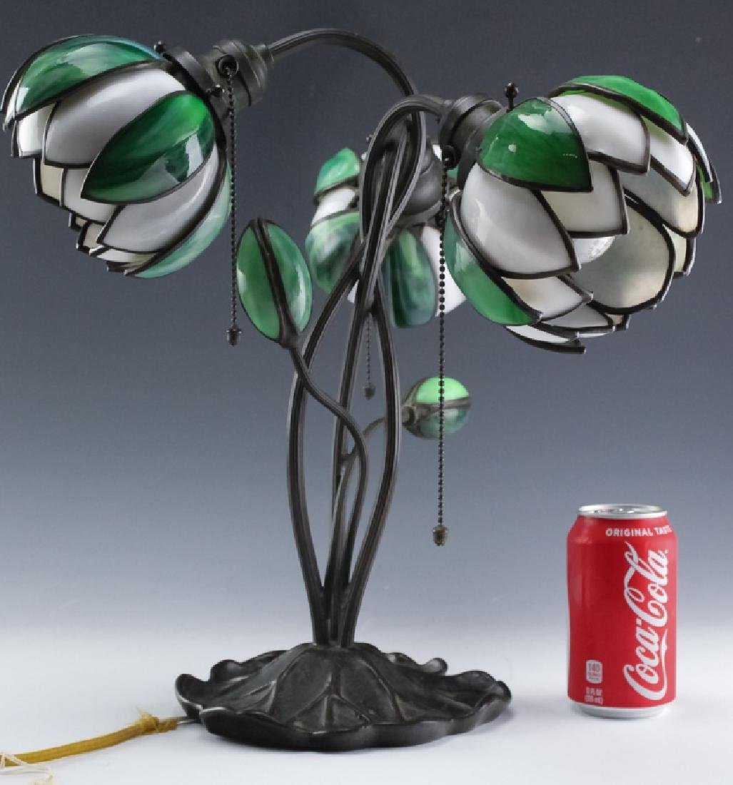Signed Handel Stained Glass Water Lily Bronze Lamp - 2