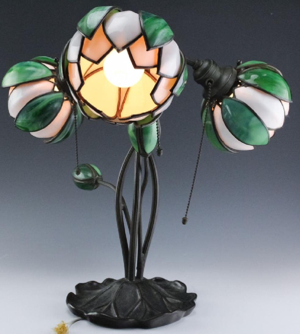 Signed Handel Stained Glass Water Lily Bronze Lamp - 4