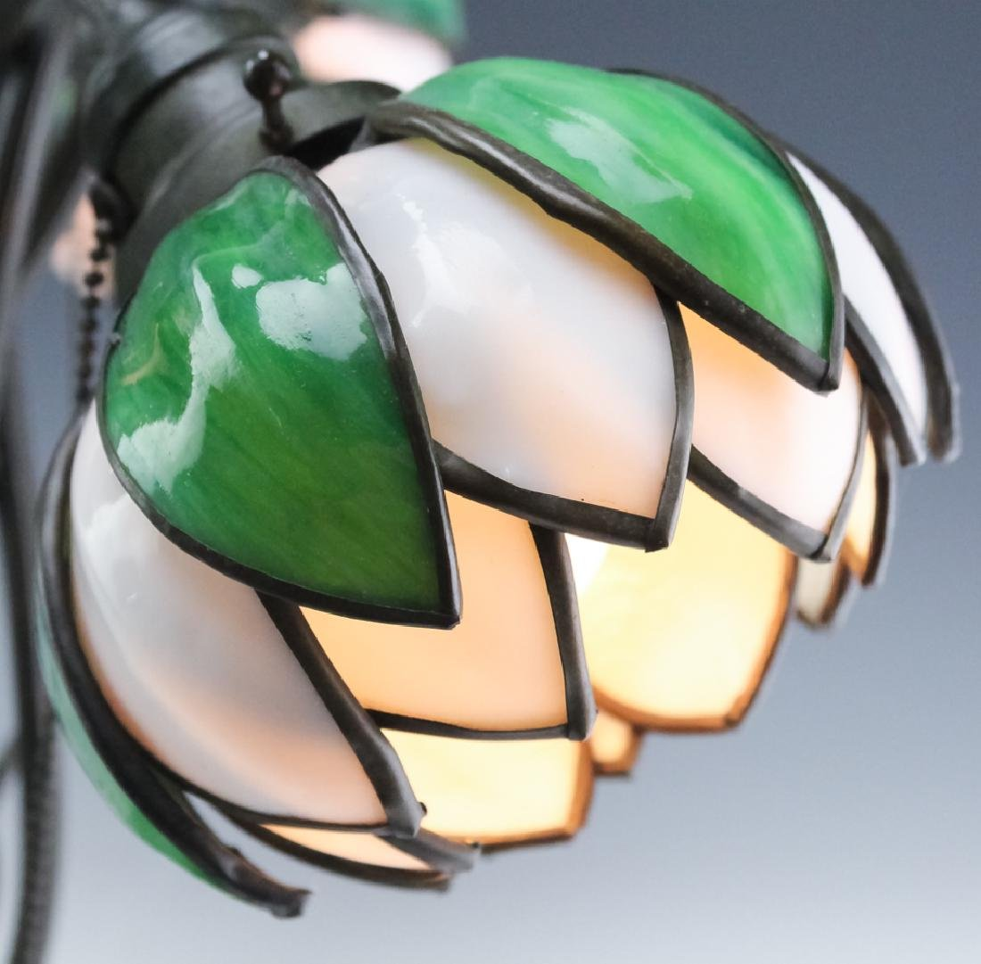 Signed Handel Stained Glass Water Lily Bronze Lamp - 5