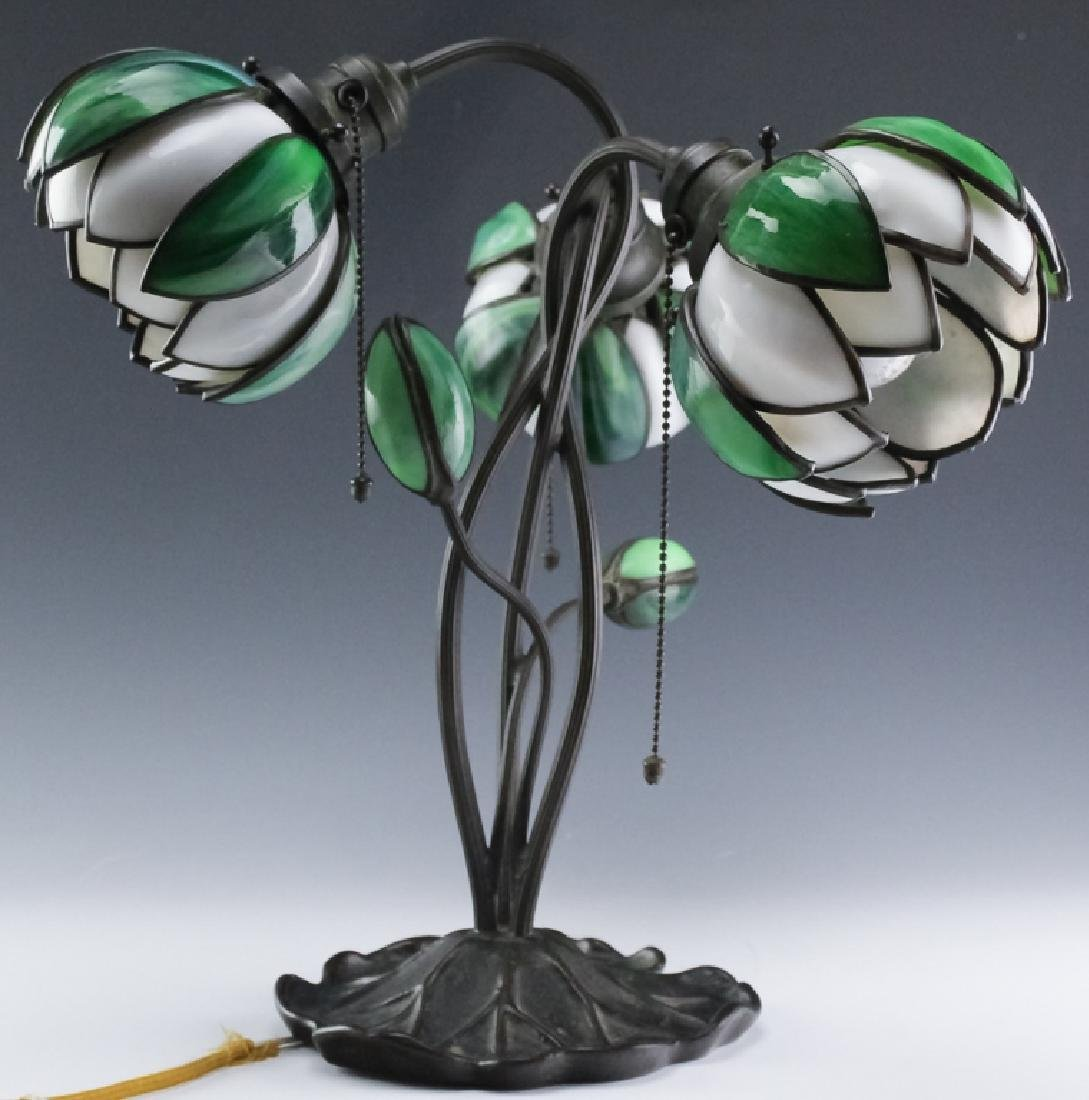 Signed Handel Stained Glass Water Lily Bronze Lamp - 6