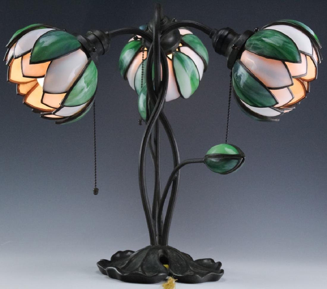 Signed Handel Stained Glass Water Lily Bronze Lamp - 8