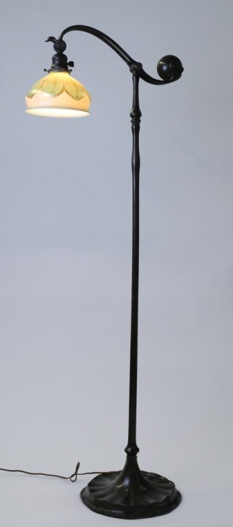 Tiffany Studios Pulled Feather Shade Bridge Lamp - 7
