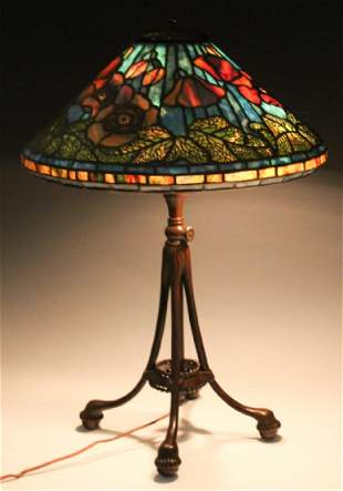 Tiffany Studios Bronze Lamp Wire Mesh Poppy Shade