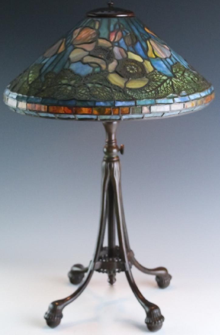 Tiffany Studios Bronze Lamp Wire Mesh Poppy Shade - 2