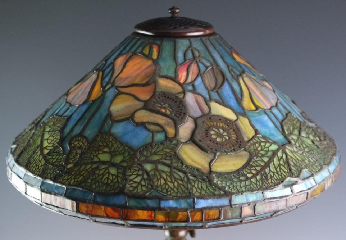 Tiffany Studios Bronze Lamp Wire Mesh Poppy Shade - 3