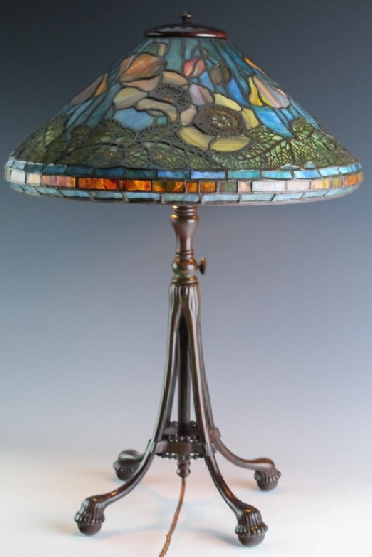 Tiffany Studios Bronze Lamp Wire Mesh Poppy Shade - 4