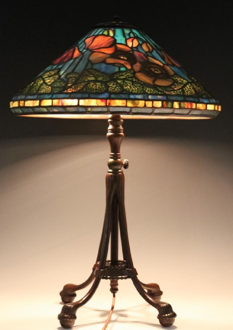 Tiffany Studios Bronze Lamp Wire Mesh Poppy Shade - 9