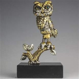 Frank Meisler b.1929 Israel Owl Bird Sculpture