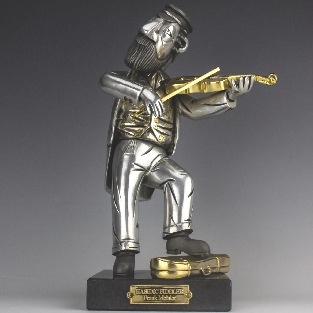 Frank Meisler b.1929 Hasidic Fiddler Sculpture