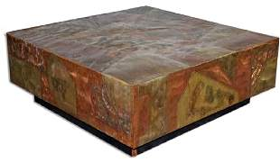 Paul Evans Style Patchwork Mix Metals Coffee Table