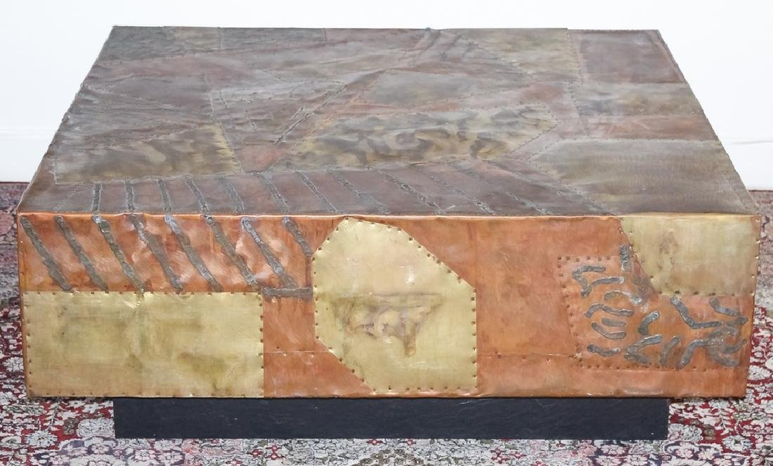 Paul Evans Style Patchwork Mix Metals Coffee Table - 3