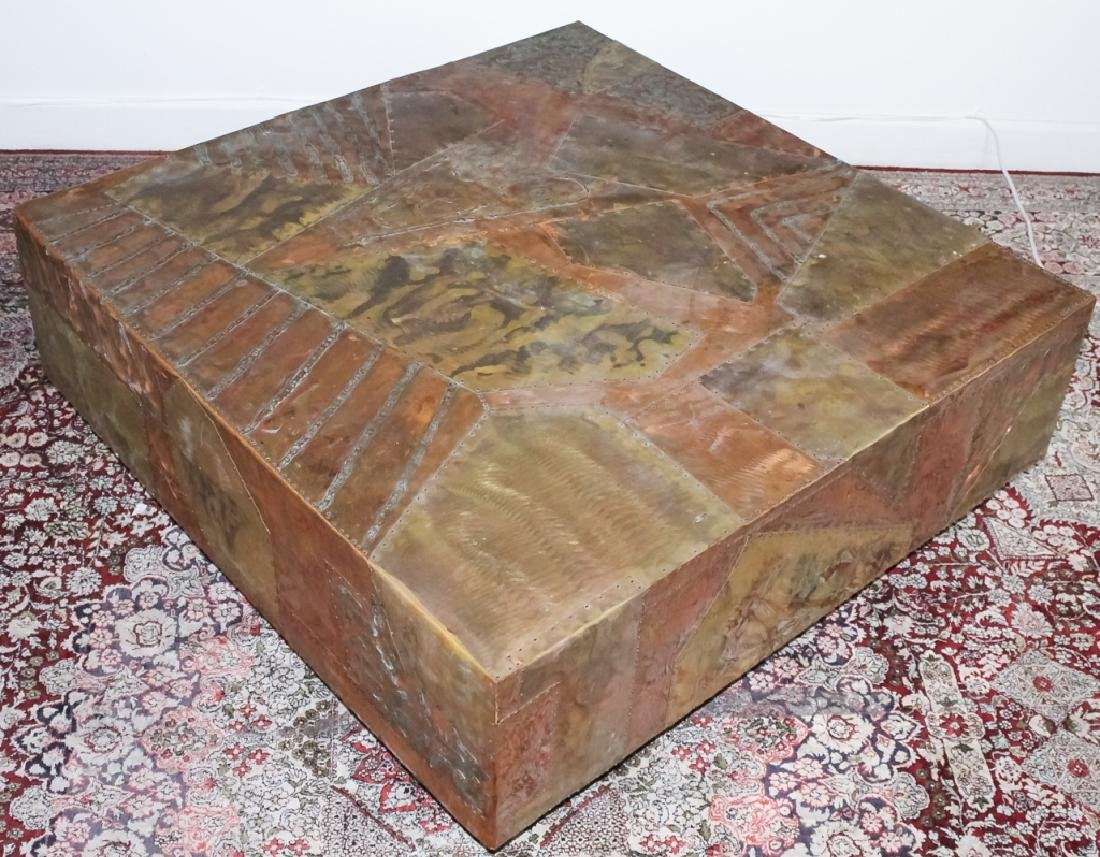 Paul Evans Style Patchwork Mix Metals Coffee Table - 4