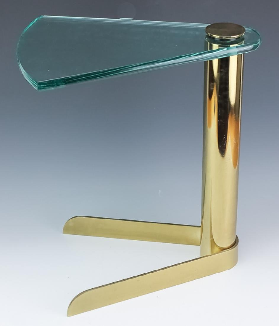 Mid Century Modern PACE Wedge Glass Brass Table