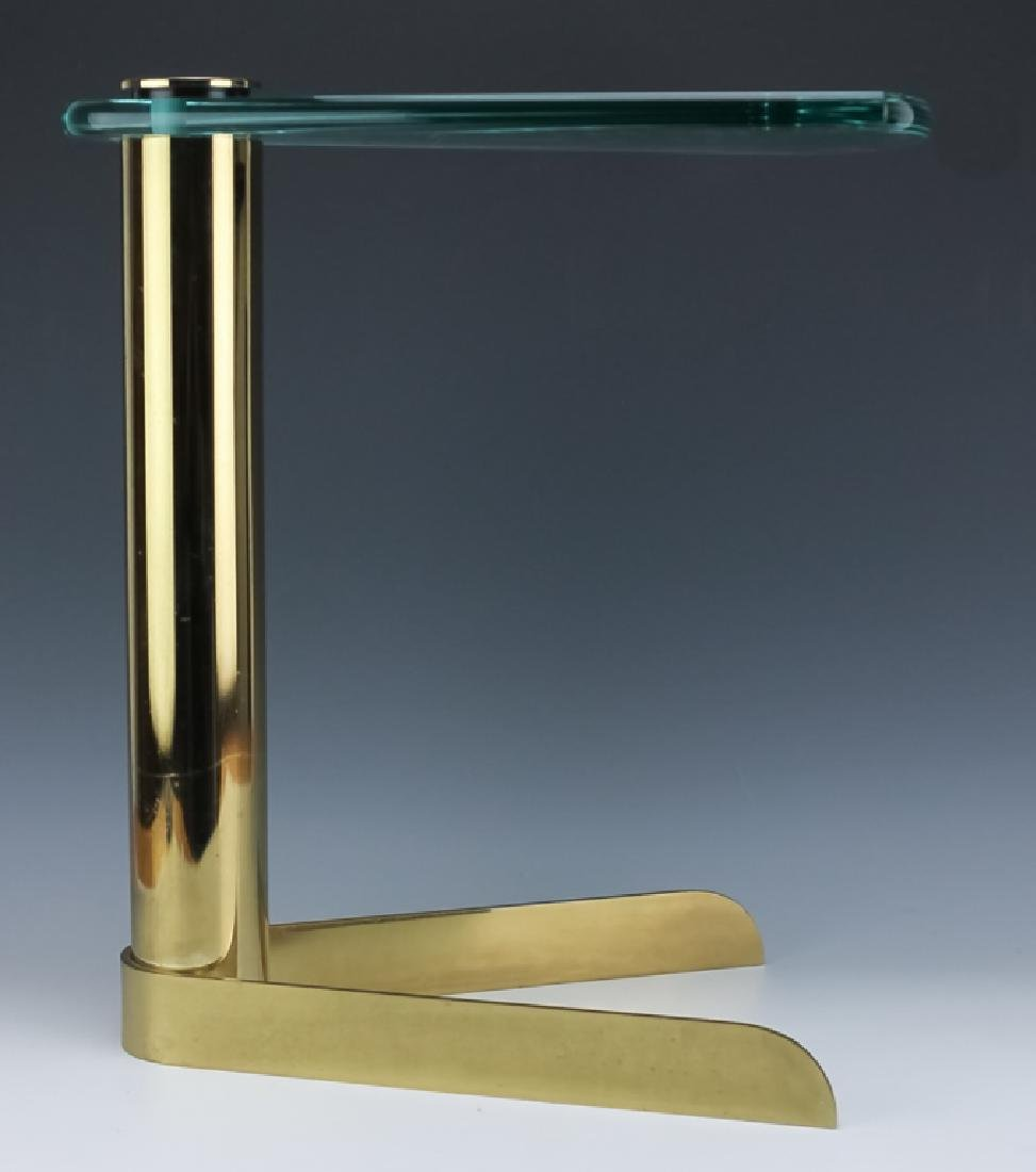 Mid Century Modern PACE Wedge Glass Brass Table - 3