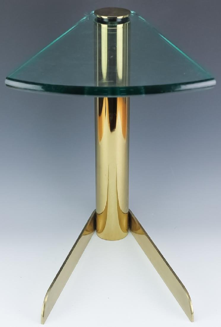 Mid Century Modern PACE Wedge Glass Brass Table - 5
