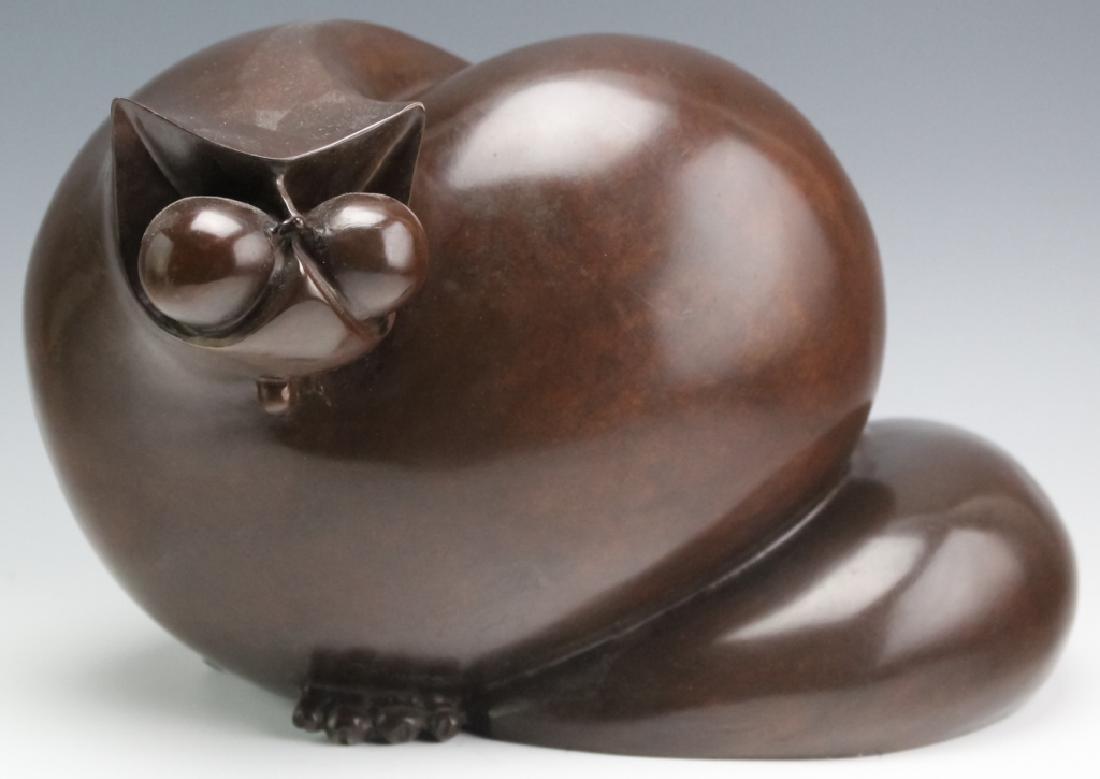 Whimsical Modernist Bronze Cat Kitty Sculpture