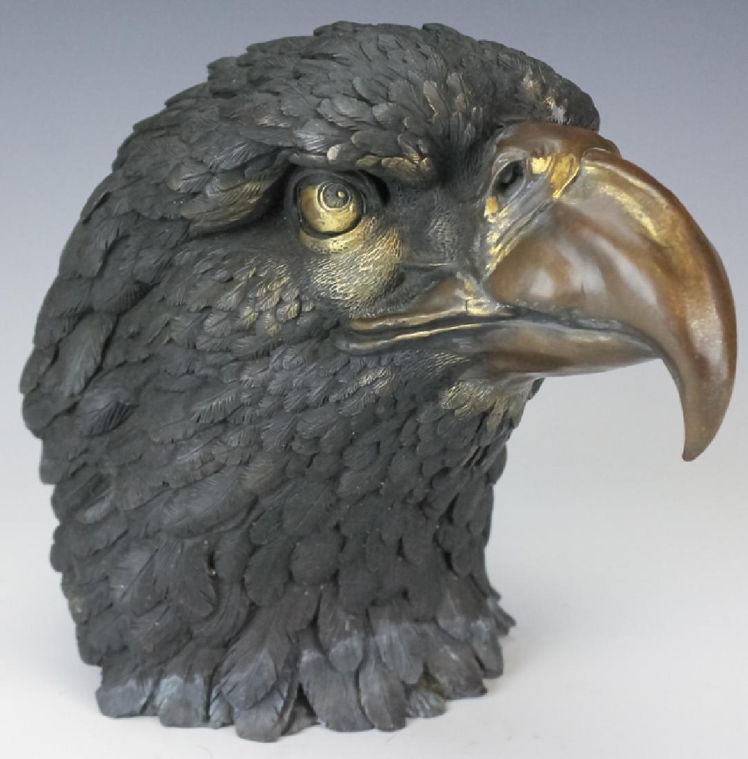 Vintage Chinese Export Bronze Eagle Head Sculpture