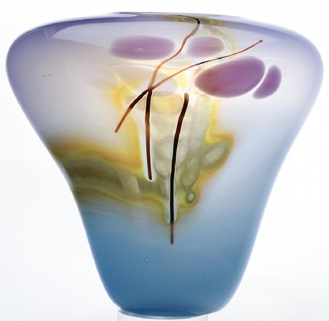 Mystery Artist Signed Studio Art Glass 1985 Vase
