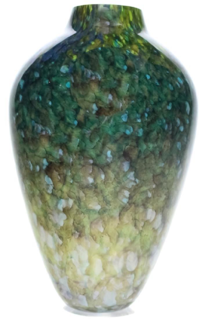 """Mystery Artist Signed Studio Art Glass 9"""" Vase"""