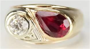 Vintage Diamond & Ruby Gemstone 14k Gold Ring