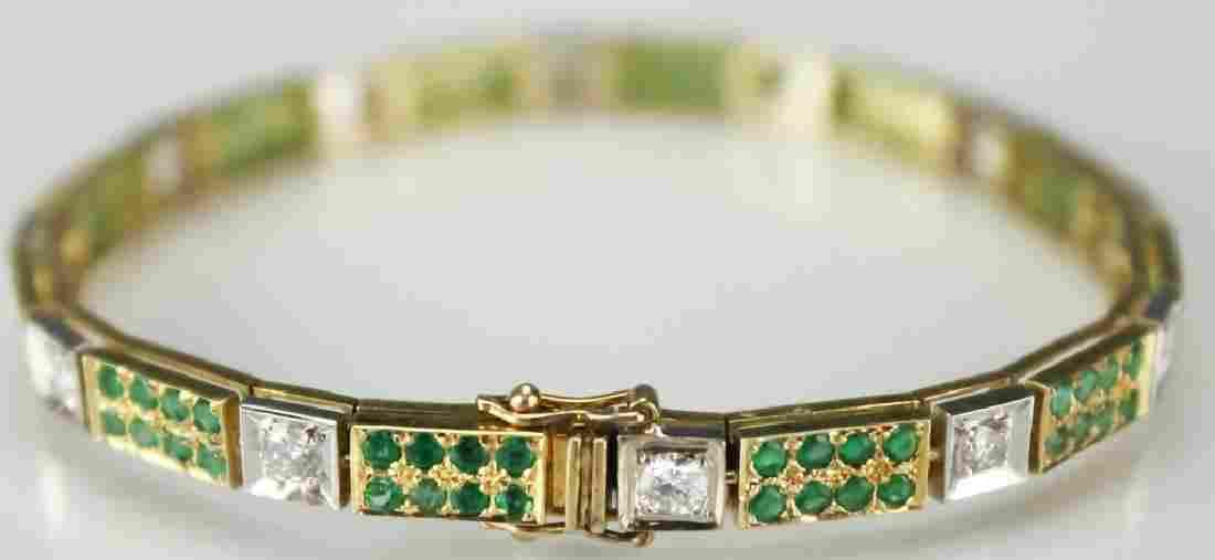 Ladies 14k Gold 5ct TW Diamond & Emerald Bracelet