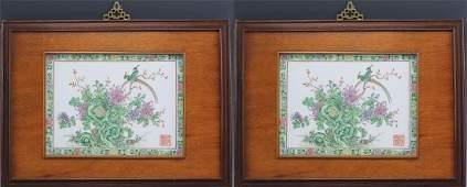 Pr Chinese Export Famille Verte Porcelain Plaques