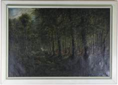 1850's Signed BC Deer In Woods Landscape Painting