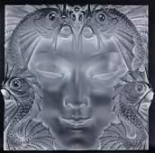 Lalique French Art Glass Masque de Femme Plaque