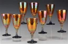 8 Rick Strini Iridescent Glass Wine Water Goblets