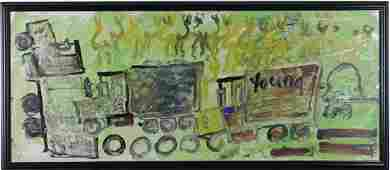 Purvis Young Outsider Art Painting Dancers& Trucks